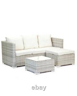 Grey Rattan Sofa Set Glass Top Table Footstool Garden Furniture Cushions Cream