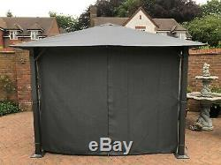 Grey Square Metal Garden Gazebo 2.5mx2.5m waterproof canopy includes 4 curtains