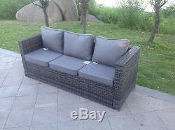 Grey wicker 3 seater rattan Sofa patio conservatory outdoor garden furniture