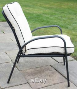 Hadleigh Armchairs & Coffee Table Metal Garden Furniture Set Hectare NO BENCH