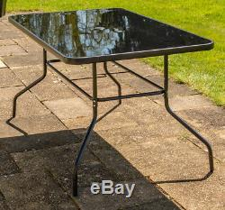 Hadleigh Outdoor Garden Patio Dining Set 6 Seater Parasol Black