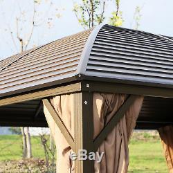 Hardtop Gazebo Aluminum Frame Garden Tent Shelter with Curtain 398x298cm