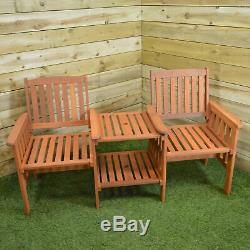 Hardwood Wooden Garden Furniture Tete-A-Tete Garden Seat / Bench & Table