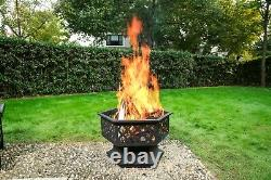 Hexagonal Fire Pit Patio Heater Stove Brazier Outdoor Garden Log Wood Burner