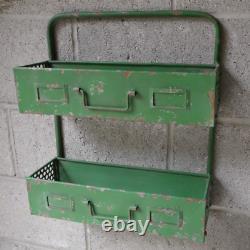 Industrial Vintage Green Metal Wall Shelf Shelving Cabinet Garden Plant Rack