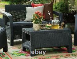 Keter Rattan Garden Furniture Set 4 Piece Chairs Sofa Table Conservatory Corfu