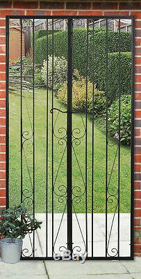 Large Black Gate Effect Mirror Metal Outdoor Acrylic Garden Illusion Door