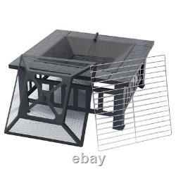 Large Heater Metal Fire Pit Brazier Square Table Firepit Garden Stove BBQ GrilL