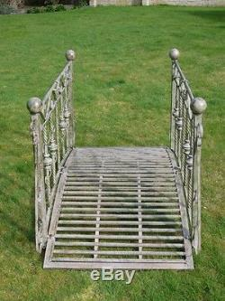 Large Metal Arched Pond Or Garden Bridge In Shabby Chic Rustic Finish