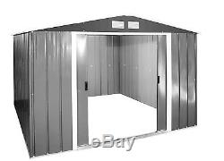 Large Metal Storage Shed Garden Outdoor Galvanized Heavy Duty Tool 10 X 10 FT UK