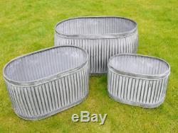 Large Oval Vintage Galvanised Metal Barrel Planters Tub Plant Flower Pot Garden