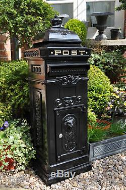 Large Post Box / Mail Box Black Aluminium Post Box Tall Black Post Box