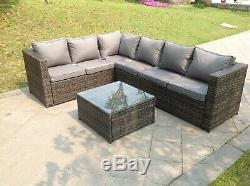Left arm 6 seater rattan corner sofa set coffee table outdoor garden furniture