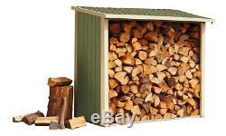 Log Store Garden Storage Shed 6x3 ft Timber Shed Steel Panels Metal Frame NEW