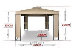 MAXIMUS GARDEN HEAVY DUTY GAZEBO 3mx3m GAZEBO Pavilion Shelter Marquee Patio