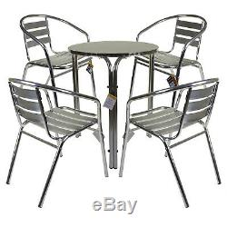 Marko Outdoor Aluminium Garden Furniture Bistro Set Stacking Table Chairs Chrome