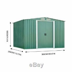 Metal Garden Shed 10X9 FT Apex Galvanised Steel Outdoor Storage with Free Base kU