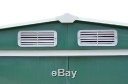 Metal Garden Shed Storage House Apex Roof Sliding Door with Free Base Large Size