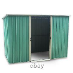 Metal Garden Shed Tool Outdoor Storage Organiser Sliding Door 6X4 GREEN