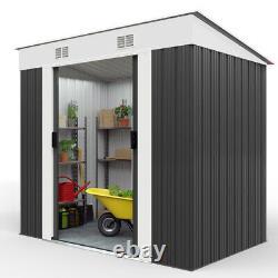 Metal Garden Tool Shed DEUBA 6x4ft Outdoor Storage Aluminium Base Store Steel