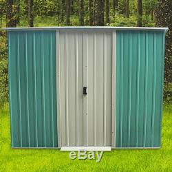 Metal Garden Tools Storage Unit Shed Outdoor Bike Patio 8 X 4Ft Lockable Doors