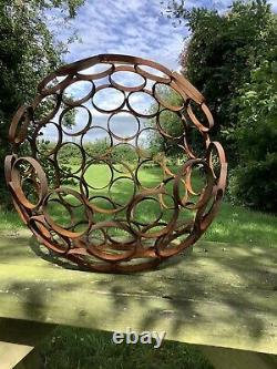 Metal Rusty Garden Modern Art Decorative Sphere Ornament Steel