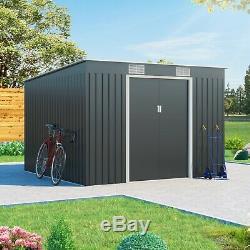 Metal Shed Garden Storage Cargo Pent Galvanised Outdoor Heavy-Duty Steel Shed