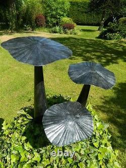 Mushroom Toadstool Garden Ornament Set of 3 Flat Mushrooms 20/30/40cm Silver