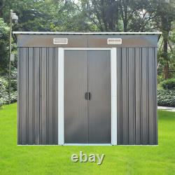NEW 8FT X 4FT Garden Metal Storage Shed Pent Roof Outdoor WITH FREE BASE