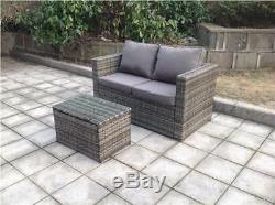 NEW TWIN TABLE RATTAN WICKER CONSERVATORY OUTDOOR GARDEN FURNITURE SET Grey