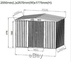 New 8x6FT Garden Shed Metal Apex Roof Outdoor Storage With Free Base Grey
