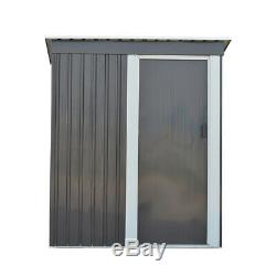 New Metal Garden Shed 3 X 5FT Yard Store Garden Tools Box Storage House Grey
