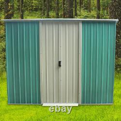 New Metal Garden Shed Flat Roof Outdoor Tool Storage House Heavy Duty Patio