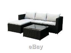 New Poly Rattan Outdoor Garden Furniture Set Black Malaga Cushion Patio Lounge