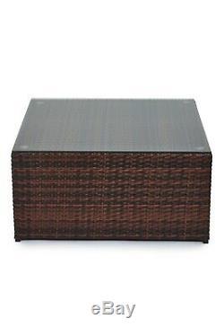 New Poly Rattan Outdoor Garden Furniture Set Brown Malaga Cushion Patio Lounge