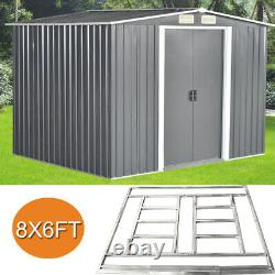 New Quality 8x6 FT Garden Shed Metal Apex Roof Outdoor Storage With Free Base