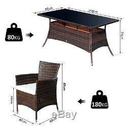 Ousunny Rattan Dining Set Garden Patio Furniture 6 Chairs Table Wicker Brown