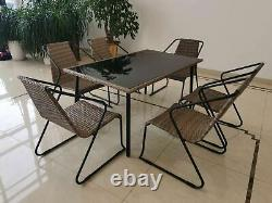 Outdoor Dining Set 7pcs Garden Table Stacking Chairs Rattan Garden Dining Set