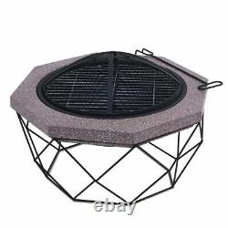Outdoor Fire Pit Firepit Brazier Garden Table Stove Patio Heater Mesh Poker UK