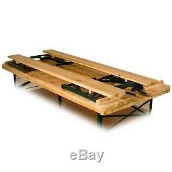 Outdoor Folding Trestle Table Bench Set with Backrest Wooden Garden Furniture