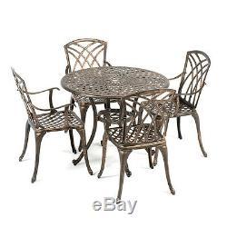 Outdoor Garden Furniture Metal Aluminium 4 Armchair 90cm Round Patio Table Set