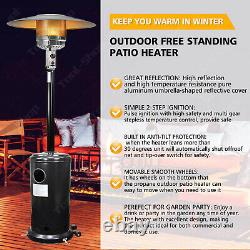 Outdoor Garden Gas Patio Heater Standing Propane Heaters Wheels Regulator Hose
