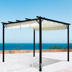 Outdoor Garden Gazebo Sun Shade Retractable Roof Canopy Awning Pavilion Tent
