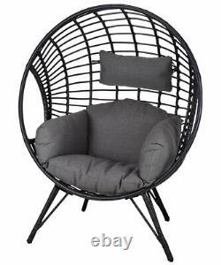 Outdoor Garden Standing Egg Chair Rattan Effect Patio Charcoal Cushions