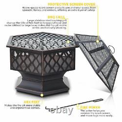 Outdoor Hexagonal Fire Pit BBQ Firepit Brazier Garden Stove Patio Heater Brazier