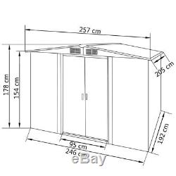 Outdoor Metal Shed Large Garden Storage House Galvanised Steel with 4 Vents 8 x 7