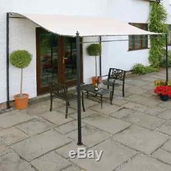 Outdoor Wall Mounted Gazebo Garden Dining Polyester Metal Frame Round Leg Ivory
