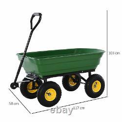 Outsunny 125L Garden Cart Trolley Dump Wheelbarrow Trailer Truck 4 Wheels