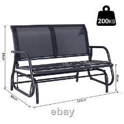 Outsunny 2 Person Patio Glider Bench Swing Chair Garden Mesh Rocker Steel Black