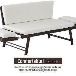 Outsunny 2 in 1 Rattan Folding Daybed Sofa Bench Garden Chaise Lounger withCushion